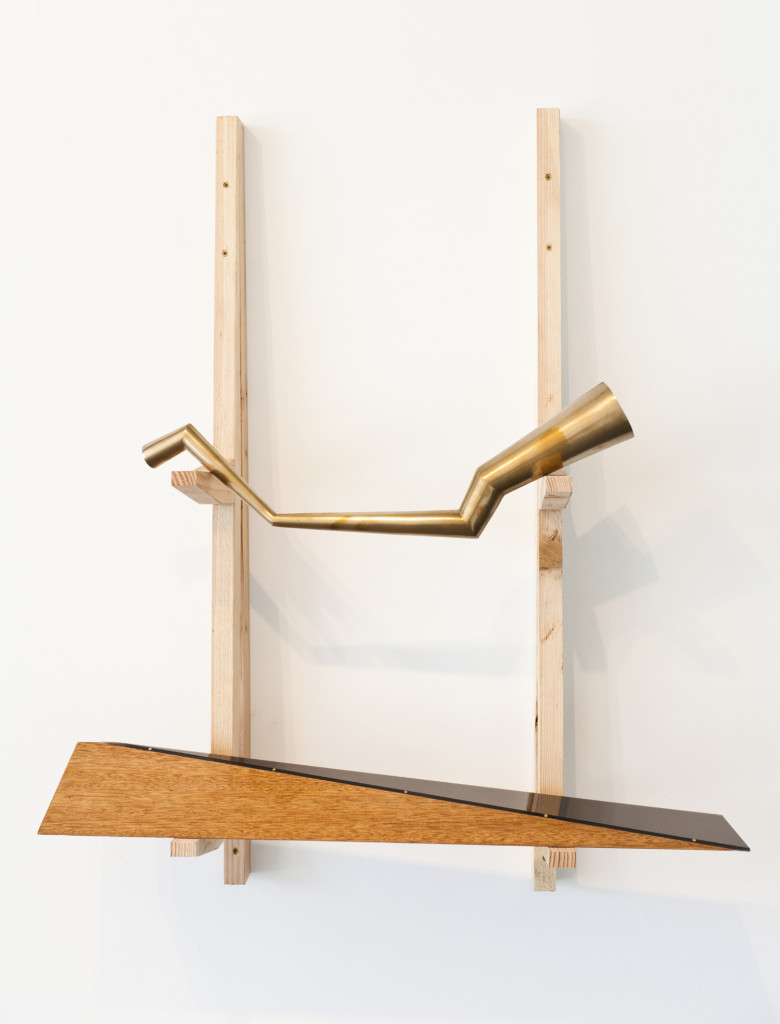top to bottom: Expanding or Contracting, bronze. Time as Matter, plexiglas, wood.